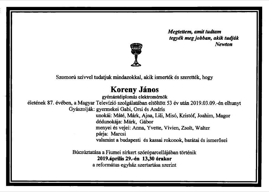 Elhunyt Koreny János